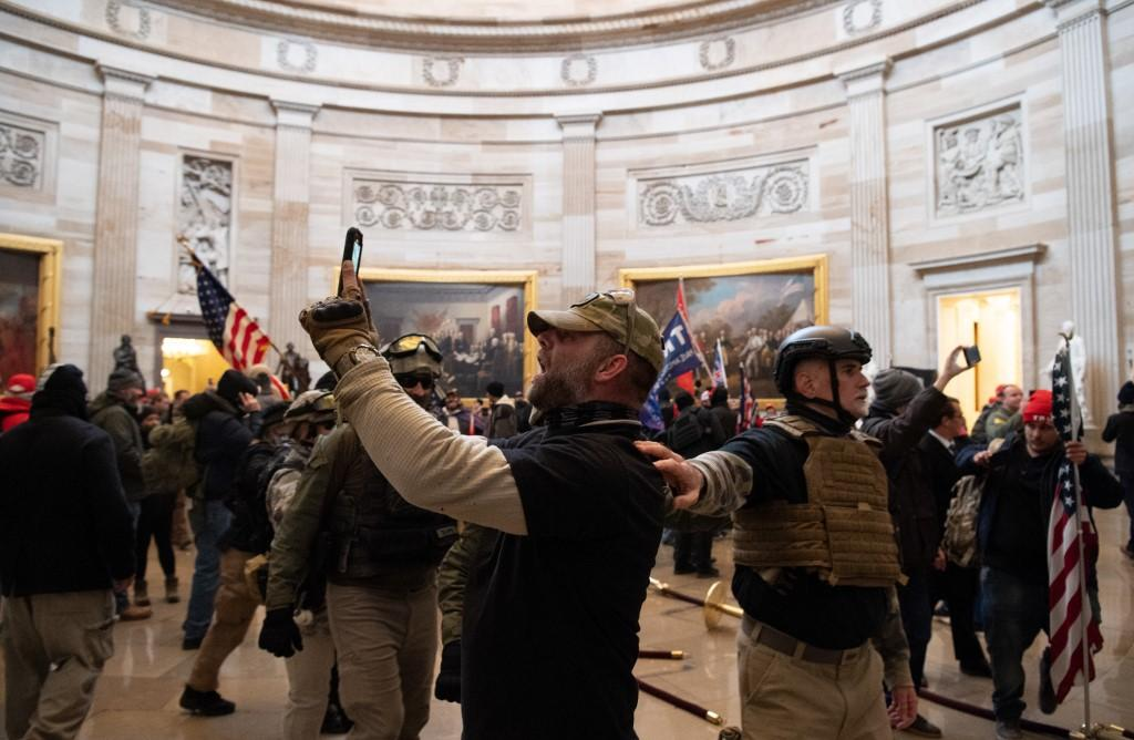 Trump supporters in the Capitol Rotunda after they stormed the government building on January 6. Photo: AFP