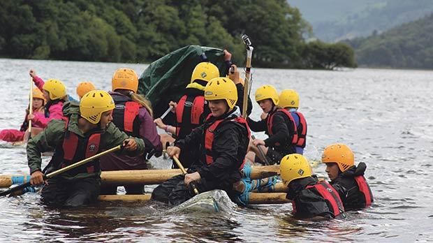 Stella Maris College Scouts taking part in a raft-building exercise in 2013, with scouts from the Keswick Scout Group with whom the group is currently twinned.
