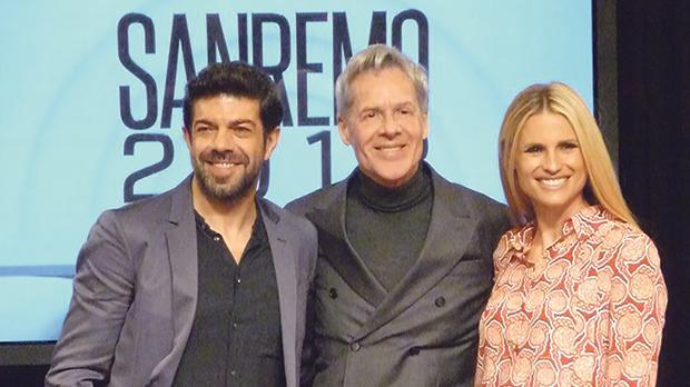 Sanremo hosts (from left) Pierfrancesco Favino, Claudio Baglioni and Michelle Hunziker