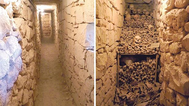 The secret passages. Bones in the secret passage.