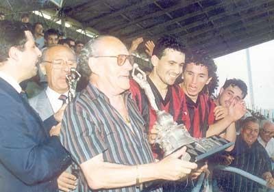 Hamrun Spartans president Victor Tedesco holds the FA Trophy after his team beat Valletta 2-1 in a replay in season 1991-1992.