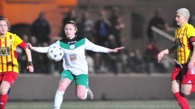 Roxanne Micallef of Mġarr United tries to move past Birkirkara's Rebecca Bajada (left) and Stephania Farrugia. Photo: Malta FA