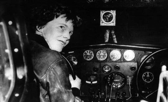 US aviator Amelia Earhart at the controls of an aircraft in Essonne, France, in the 1930s. Photo: AFP
