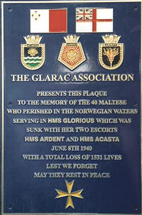 The commemorative plaque presented by the Glarac Association to Malta in 2008 can be seen at the Maritime Museum in Vittoriosa.
