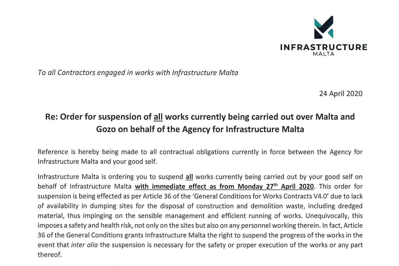An extract of the letter sent to all contractors.