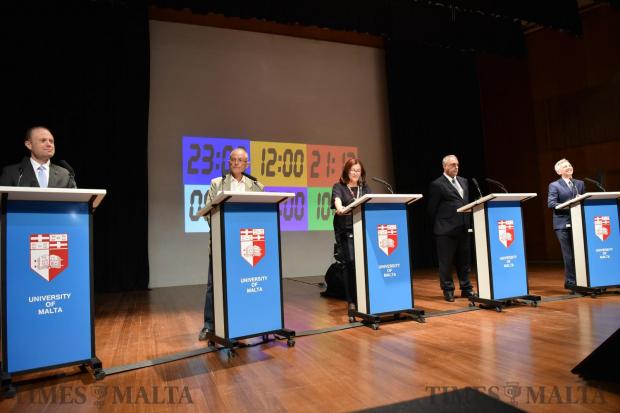 Political leaders go head to head in a debate held at the University of Malta on May 17. Photo: Mark Zammit Cordina