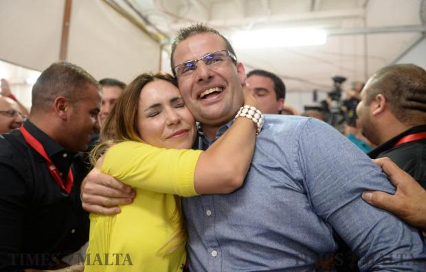 Labour Party candidate Robert Abela and his wife Lydia Abela, celebrate at the counting hall in Naxxar, after early indications point to another victory for the Malta Labour Party. Photo: Matthew Mirabelli