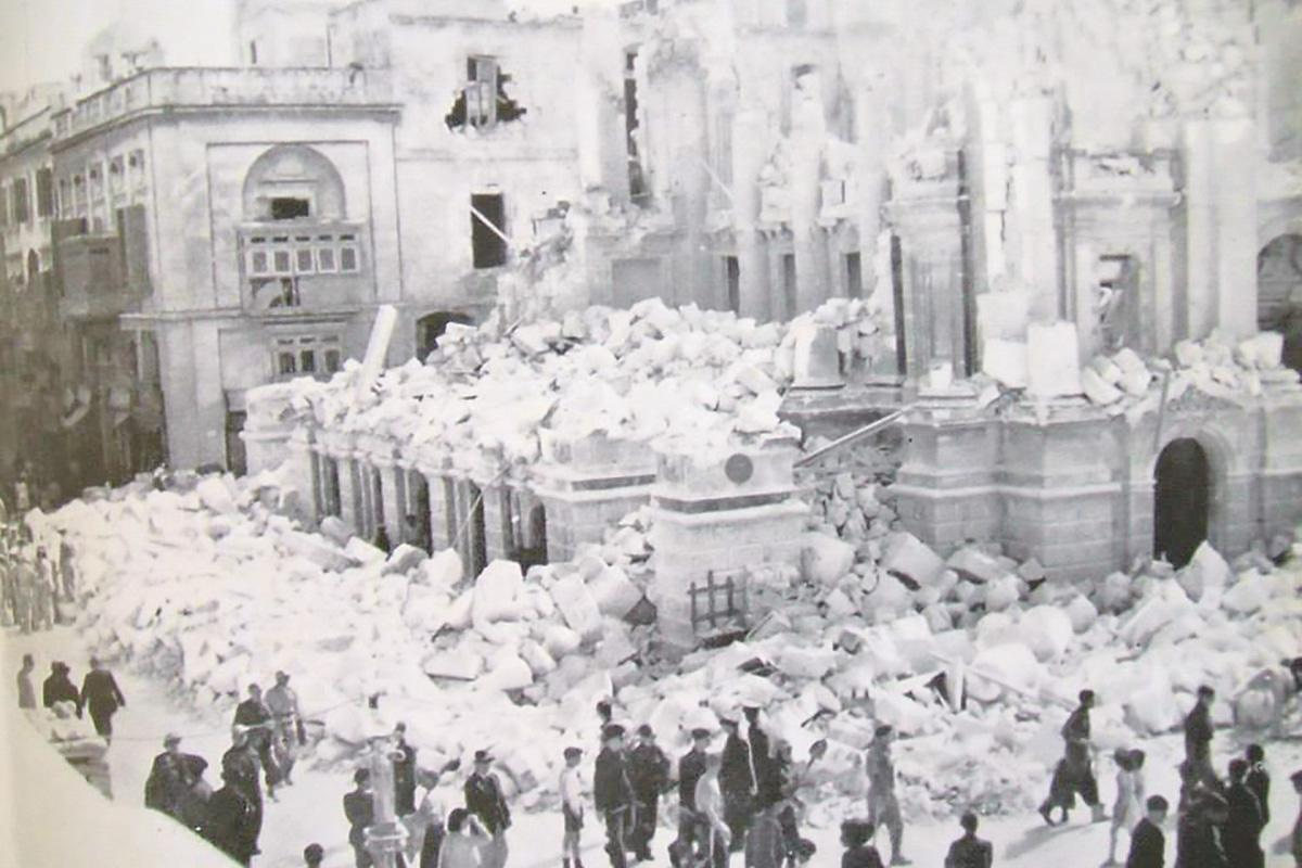 The Royal Opera House after it was bombed during enemy aerial action in 1942.