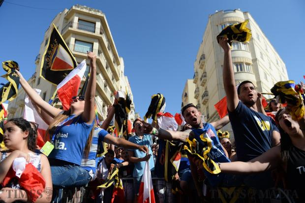 Nationalist party supporters gather in Sliema for a mass meeting on May 28. Photo: Matthew Mirabelli