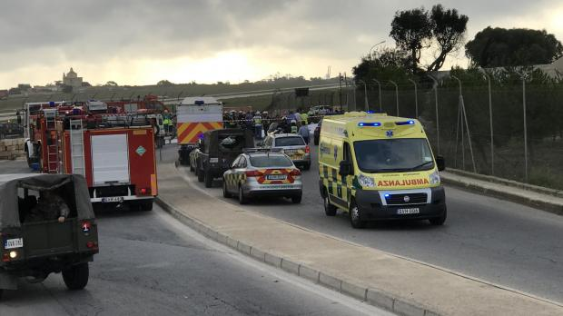 Emergency services at the site of this morning's crash. Photo: Mark Zammit Cordina