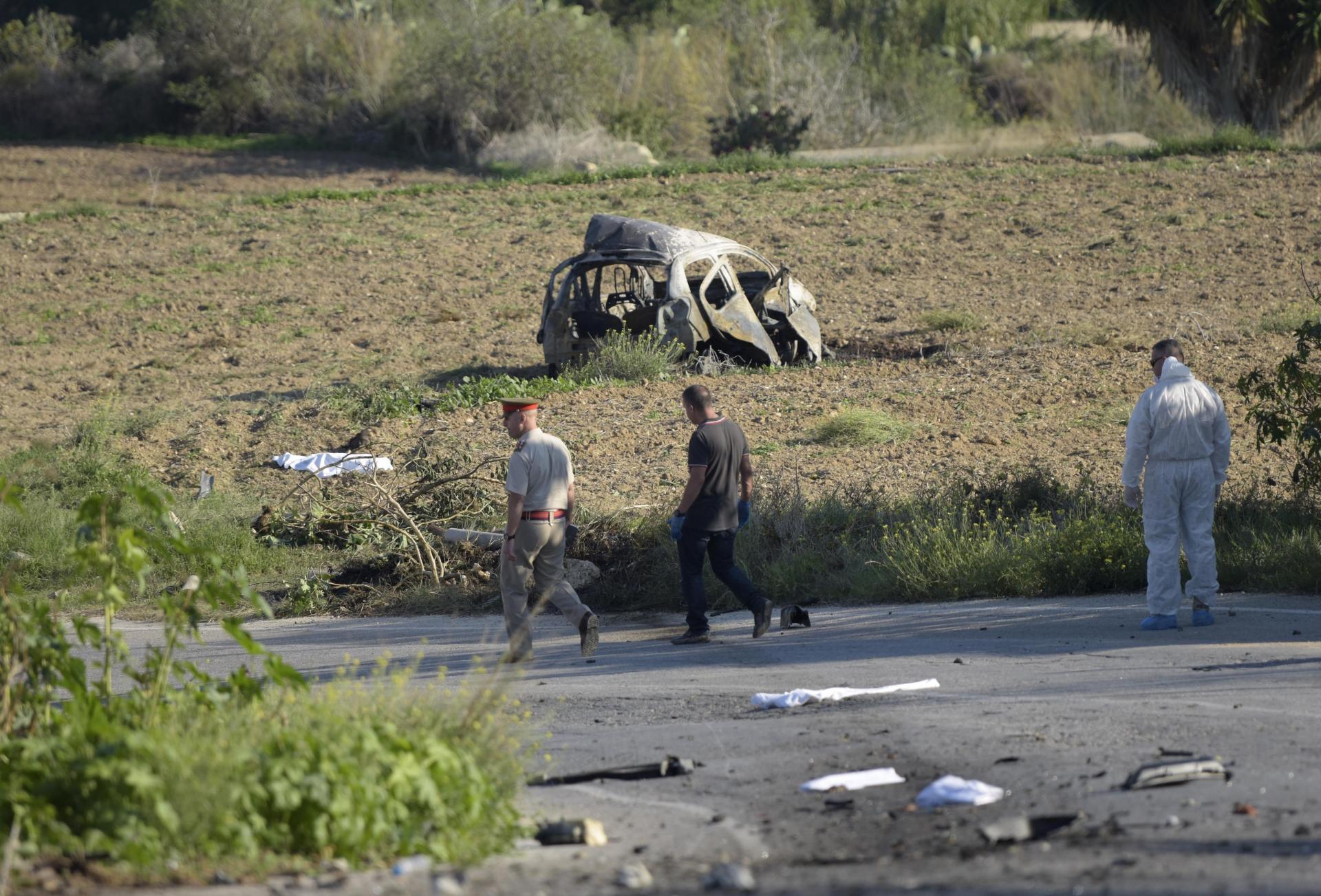 The wreckage from the bomb blast. Photo: Mark Zammit Cordina
