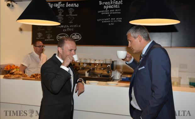 Prime Minister Joseph Muscat shares a coffee with Betsson Malta CEO, Ulrik Bengtsson in their offices in Ta' Xbiex on June 06. Photo: Mark Zammit Cordina