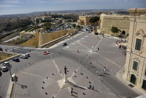 A bird's eye view of the newly-refurbished Castille Square in Valletta on October 25 . Photo: Mark Zammit Cordina.