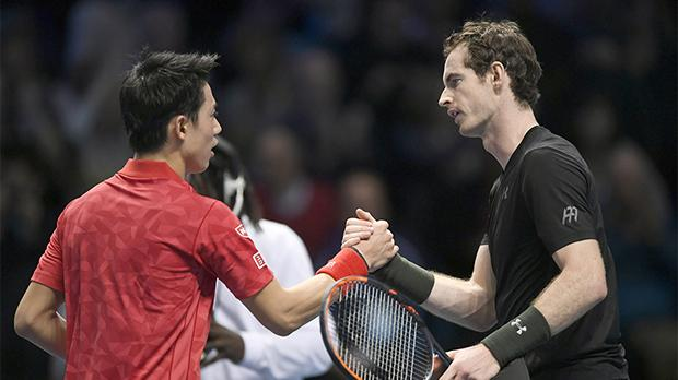 Andy Murray (right) shakes hands with Kei Nishikori at the end of the match, yesterday.