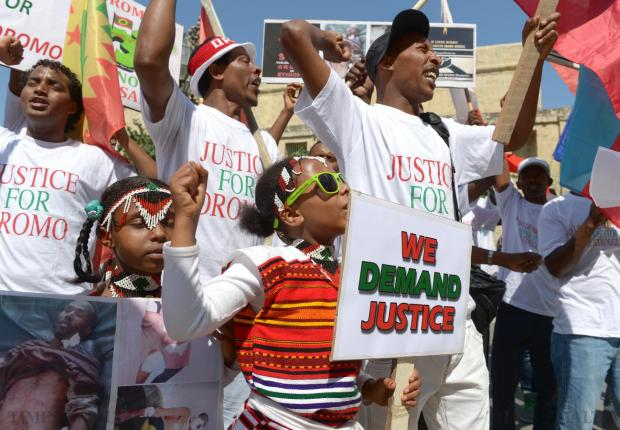 Ethiopian asylum seekers protest outside Castille, Valletta on June 16 against the Ethiopian government's eviction of Oromo farmers to make way for an industrial zone. Photo: Matthew Mirabelli