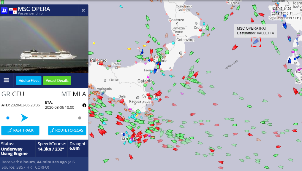 MSC Opera was due to arrive in Malta at 6pm. Photo: Marine Traffic