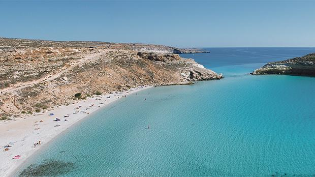 A panoramic view of La Baia dei Conigli in Lampedusa.