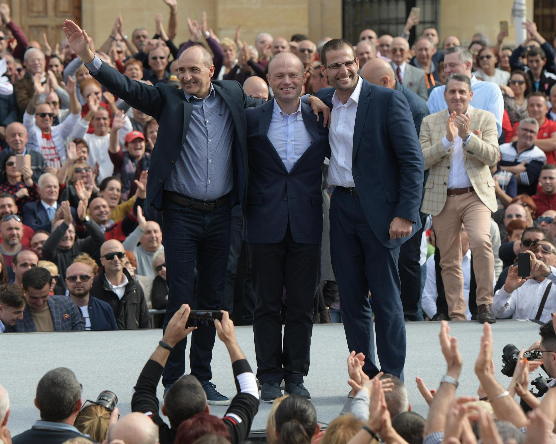 Joseph Muscat flanked by the two men who were gunning to replace him. Photo: Matthew Mirabelli