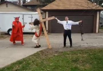 Watch: Anti-gay protester dressed up as Pete Buttigieg appears whipping 'Jesus'