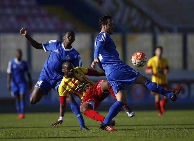 Birkirkara's L'Imam Seydi (centre) puts pressure on the Mosta defenders during their Premier League football match at the National Stadium in Ta' Qali on February 21. Seydi scored a hat-trick in the 6-3 win for Birkirkara. Photo: Darrin Zammit Lupi
