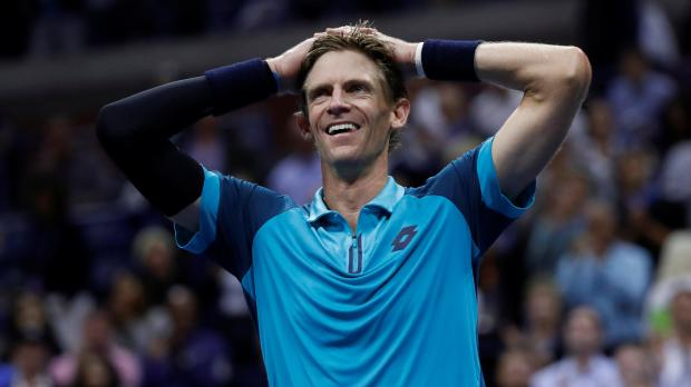 Kevin Anderson of South Africa celebrates his win action against Pablo Carreno Busta of Spain.