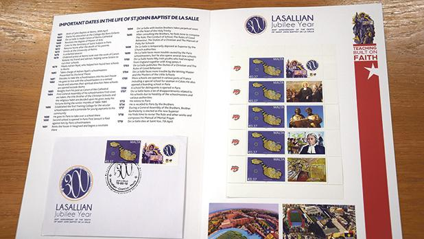 A commemorative stamp issue is available for sale from the De La Salle College.