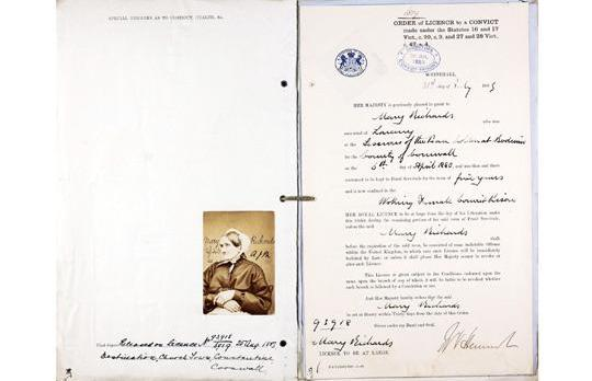 The criminal record of Mary Richards, who was jailed for five years in 1880 at the age 59 for stealing 130 oysters valued at eight shillings. Photo: Ancestry.co.uk/PA Wire