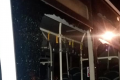 Bus windows shattered by vandal