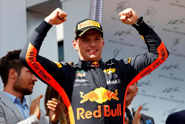 Max Verstappen celebrates his victory at the Austrian GP.