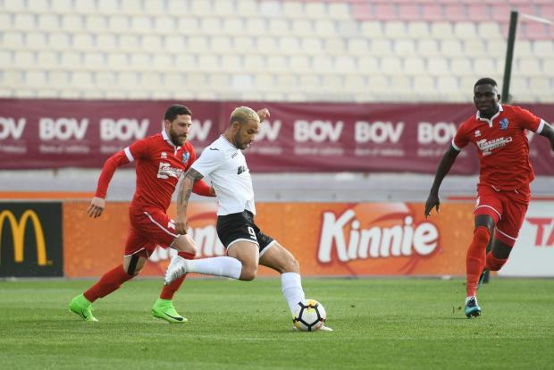 Brazilian winger Marcelo Dias lines up a shot against Tarxien.