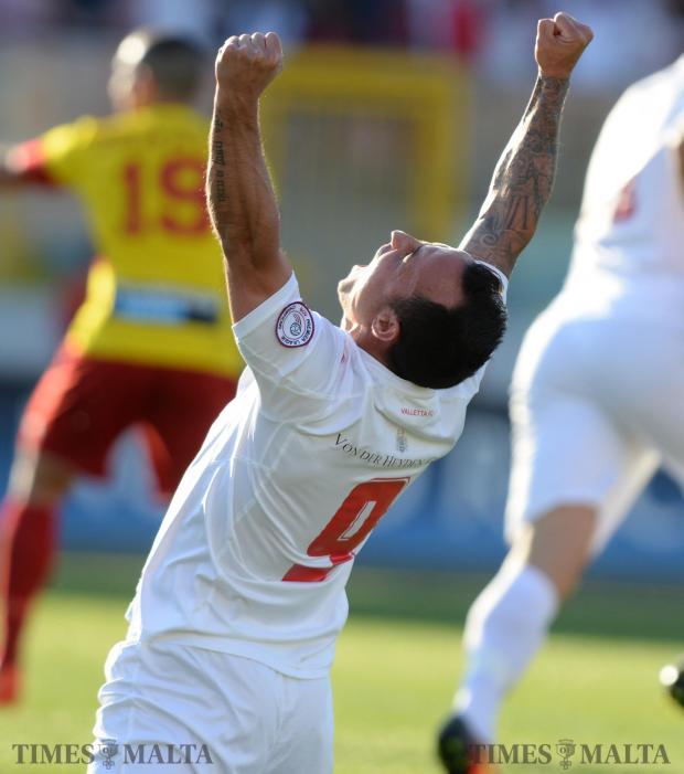 Valletta's Michael Mifsud celebrates after his team score the opening goal against Birkirkara at the National Stadium in Ta'Qali on April 15. Photo: Matthew Mirabelli