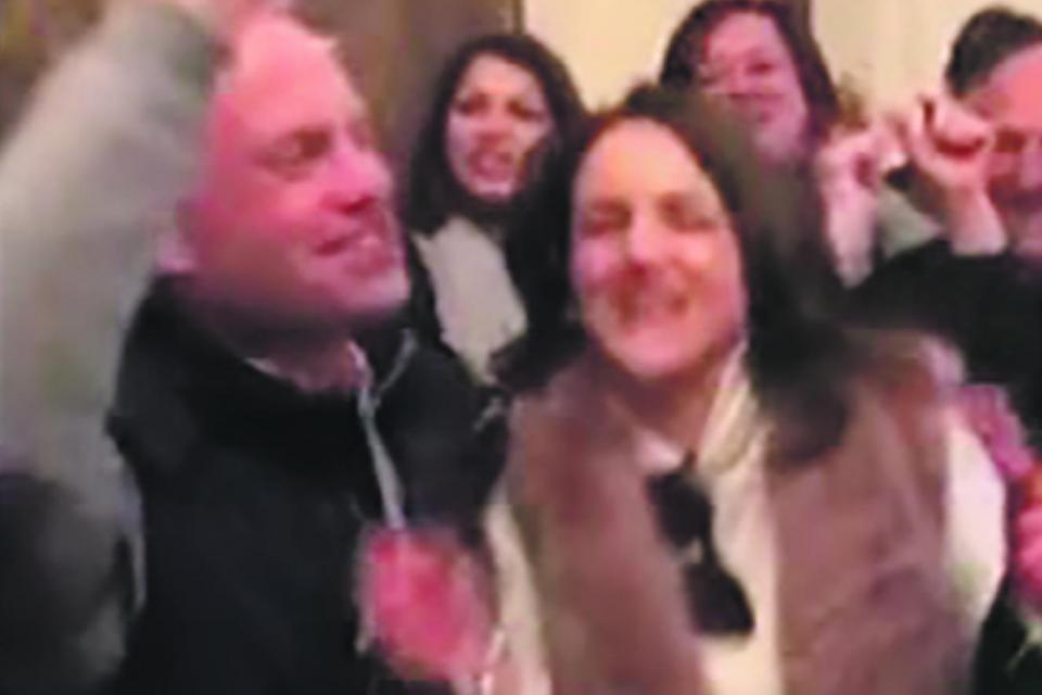 A video grab from the February party at Girgenti Palace showing Joseph Muscat and his wife Michelle leading guests into chanting an old Labour Party anthem.