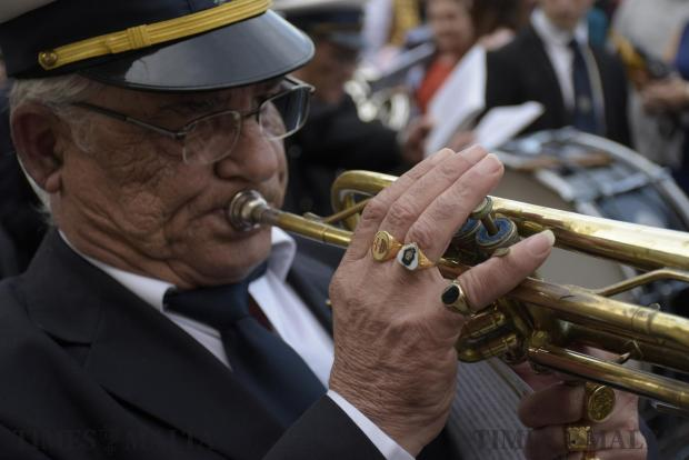 A band member plays the trumpet at a procession in Cospicua on April 16. Photo: Mark Zammit Cordina