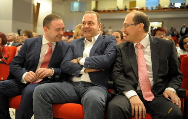 Labour party candidates Owen Bonnici, Dr Chris Cardona and Dr Stefan Zrinzo Azzopardi share a light moment before the start of the extraordinary meeting of the PL's general conference, convened to elect the new deputy leader for party affairs in Hamrun on June 9. Photo: Matthew Mirabelli