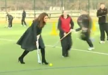 The Duchess of Cambridge didn't let her dress or heels keep her from showing off her athletic prowess on a new hockey field at her alma mater last week.