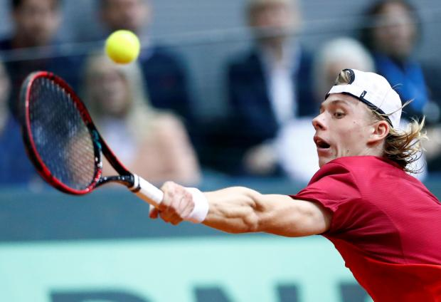 Denis Shapovalov of Canada in action during his match against Borna Coric of Croatia.