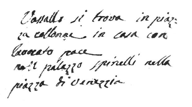Note written by letter courier Felice Attard after finding Vassalli living with Pace in 1796.