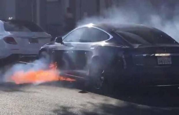 A still image from the burning Tesla video uploaded online. Photo: marycmccormack/Twitter