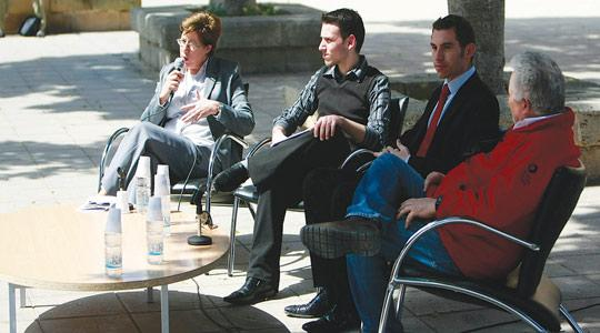 Mary Ann Borg Cunen, Anthony Camilleri, Cyrus Engerer and Peppi Azzopardi at the debate on homosexuality organised by Move. Nationalist councillor and gay rights activist Cyrus Engerer said the government was doing nothing to advance gay rights.