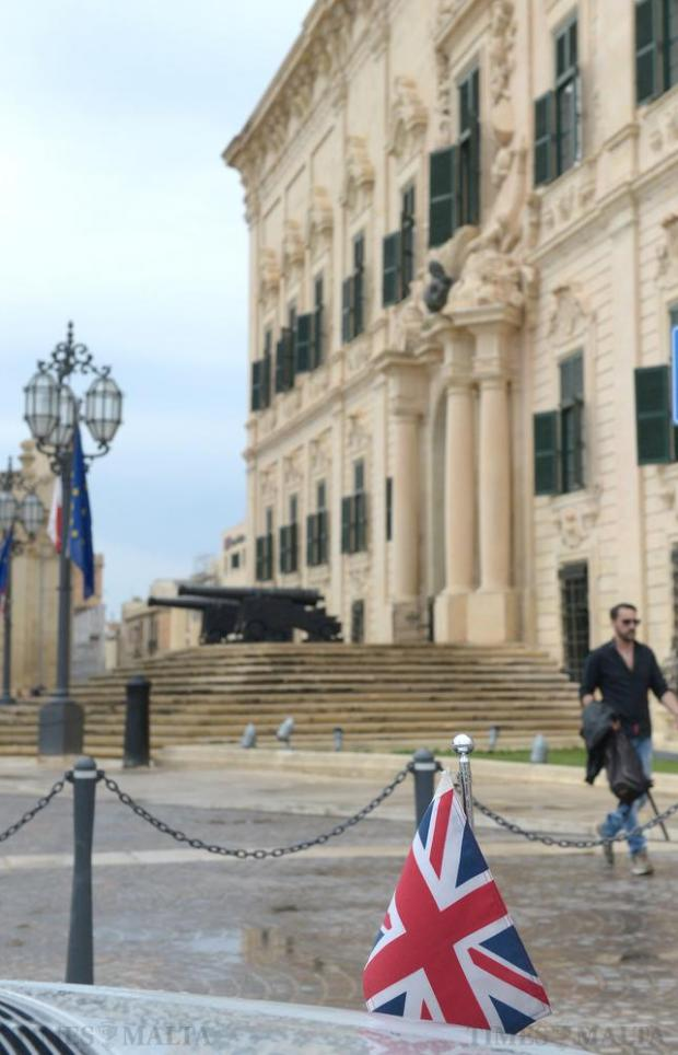The Union Jack from the British High Commissioner's car in front of Castille on June 24, the afternoon after the United Kingdom announced it would be leaving the EU. Photo: Matthew Mirabelli