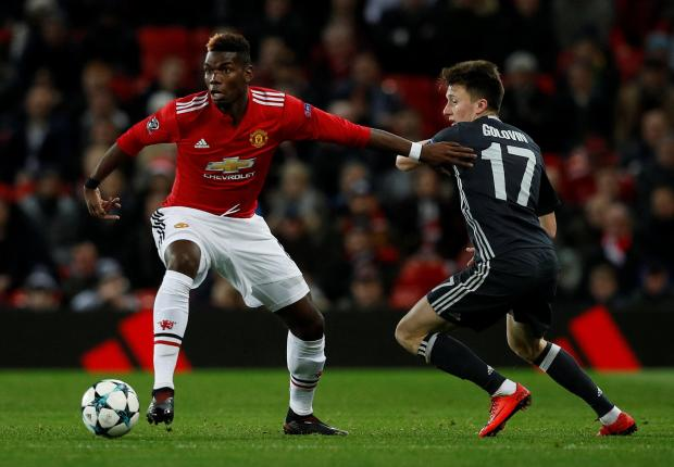 Paul Pogba in action for Manchester United against CSKA Moscow.