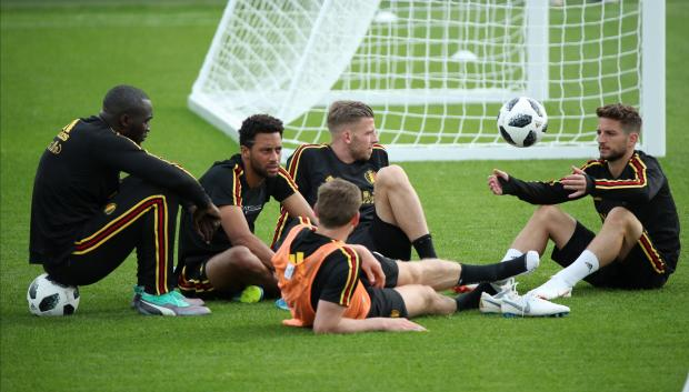 Belgium's Toby Alderweireld, Dries Mertens, Romelu Lukaku and Mousa Dembele with team mates during training.