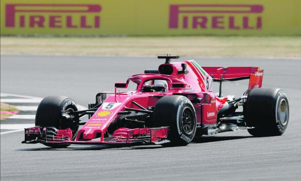 Sebastian Vettel set the fastest time at the end of the second practice session at Silverstone.