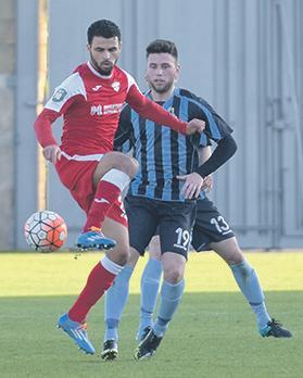 Balzan's Pedrinho (left) will face his former Sliema team-mates in the FA Trophy final. Photo: Mark Zammit Cordina
