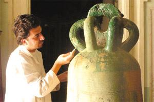 Campanologist Kenneth Cauchi restoring the mediaeval bell, Petronilla.