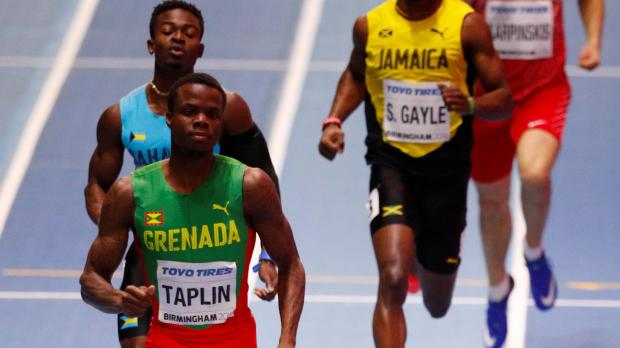 Grenada's Bralon Taplin competes during the Men's 400m heats.