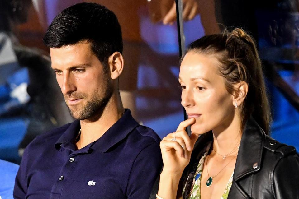 Novak Djokovic (left) and his wife Jelena.