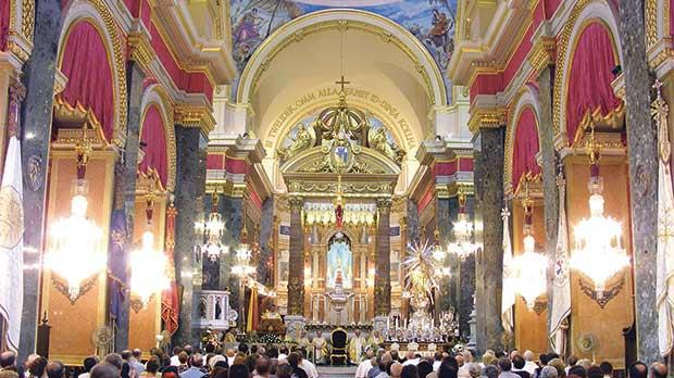 Senglea Basilica elegantly adorned for its annual titular feast on September 8. Photo: Mark Micallef Perconte
