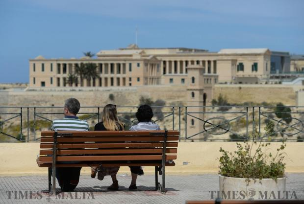 Tourists enjoy the afternoon sun in Birgu on April 2. Photo: Matthew Mirabelli