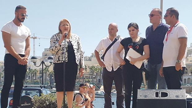 President Marie-Louise Coleiro Preca addressing the audience at the Remax & Friends Charity Fun Day in Marsascala.